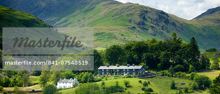 Cottages in Langdale Pass surrounded by Langdale Pikes in the Lake District National Park, Cumbria, UK Stock Photo - Rights-Managed, Image code: 841-07540519