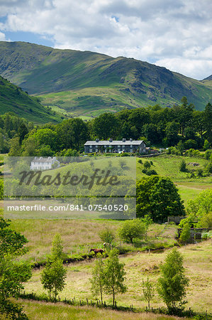 Cottages in Langdale Pass surrounded by Langdale Pikes in the Lake District National Park, Cumbria, UK Stock Photo - Rights-Managed, Image code: 841-07540520