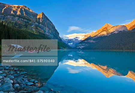Early morning sunrise, Lake Louise, Banff National Park, UNESCO World Heritage Site, Alberta, Canadian Rockies, Canada, North America Stock Photo - Rights-Managed, Image code: 841-07590040