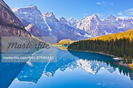Moraine Lake reflections in the Valley of the Ten Peaks, Banff National Park, UNESCO World Heritage Site, Alberta, Canadian Rockies, Canada, North America Stock Photo - Rights-Managed, Image code: 841-07590041