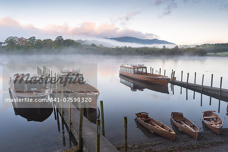 Boats moored on Derwentwater near Friar's Crag in autumn, Keswick, Lake District National Park, Cumbria, England, United Kingdom, Europe Stock Photo - Rights-Managed, Image code: 841-07590320