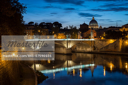 Ponte Vittorio Emanuelle II and the dome of St. Peter's Basilica, Rome, Lazio, Italy, Europe Stock Photo - Rights-Managed, Image code: 841-07590555