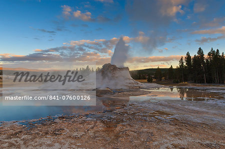 Castle Geyser at sunset, Upper Geyser Basin, Yellowstone National Park, UNESCO World Heritage Site, Wyoming, United States of America, North America Stock Photo - Rights-Managed, Image code: 841-07600126