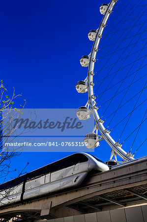 High Roller Observation Wheel section and monorail, LINQ Development, Las Vegas, Nevada, United States of America, North America Stock Photo - Rights-Managed, Image code: 841-07653159