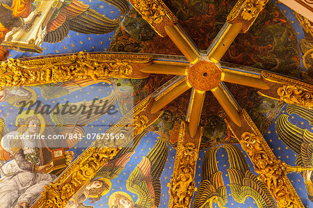 Decorated ceiling in the Metropolitan Cathedral-Basilica of the Assumption of Our Lady of Valencia (Iglesia Catedral-Basilica Metropolitana de la Asuncion de Nuestra Senora de Valencia), Valencia, Spain, Europe Stock Photo - Rights-Managed, Image code: 841-07673569