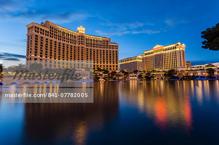 Bellagio and Caesars Palace reflections at dusk, The Strip, Las Vegas, Nevada, United States of America, North America Stock Photo - Rights-Managed, Image code: 841-07782005