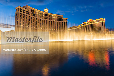 Bellagio and Caesars Palace reflections at dusk with fountains, The Strip, Las Vegas, Nevada, United States of America, North America Stock Photo - Rights-Managed, Image code: 841-07782006