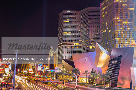 Neon lights, Las Vegas Strip South at night with cars leaving light streaks in front of City Center, Las Vegas, Nevada, United States of America, North America Stock Photo - Rights-Managed, Image code: 841-07782011