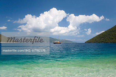 View across Antisamos Bay, Sami, Kefalonia (Kefallonia, Cephalonia), Ionian Islands, Greek Islands, Greece, Europe Stock Photo - Rights-Managed, Image code: 841-07782175