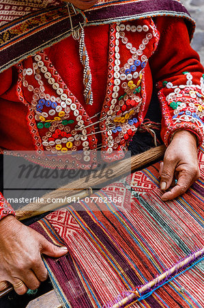 Quechua woman weaving a traditional textile, Cuzco, Peru, South America Stock Photo - Rights-Managed, Image code: 841-07782368