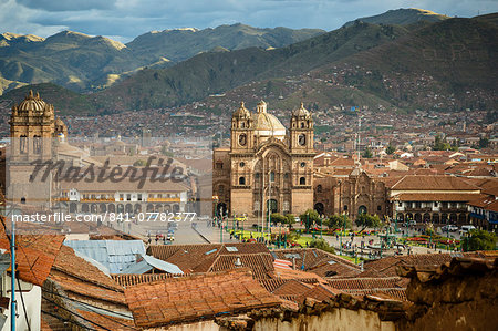 Elevated view over Cuzco and Plaza de Armas, Cuzco, UNESCO World Heritage Site, Peru, South America Stock Photo - Rights-Managed, Image code: 841-07782377