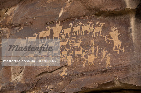The Great Hunt Panel, Fremont style petroglyphs from AD 700 to AD 1200, Cottonwood Canyon near the junction of Nine Mile Canyon, Utah, United States of America, North America Stock Photo - Rights-Managed, Image code: 841-07782643