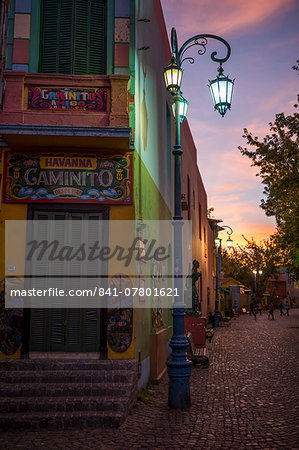 El Caminito at dusk, La Boca, Buenos Aires, Argentina, South America Stock Photo - Rights-Managed, Image code: 841-07801621