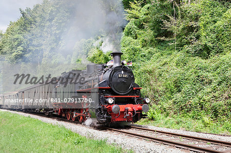 Schwaebische Waldbahn, steam train, Rudersberg, Swabian Forest, Rems Murr District, Baden Wurttemberg, Germany, Europe Stock Photo - Rights-Managed, Image code: 841-07913700