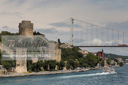 Rumeli Hisari (Fortress of Europe) and Fatih Sultan Mehmet Suspension Bridge, Hisarustu, Bosphorus Strait, Istanbul, Turkey, Europe Stock Photo - Rights-Managed, Image code: 841-07913752
