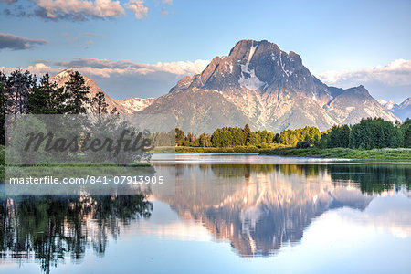 Water reflection of Mount Moran, taken from Oxbow Bend Turnout, Grand Teton National Park, Wyoming, United States of America, North America Stock Photo - Rights-Managed, Image code: 841-07913905
