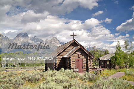 Chapel of the Transfiguration, Grand Teton National Park, Wyoming, United States of America, North America Stock Photo - Rights-Managed, Image code: 841-07913910