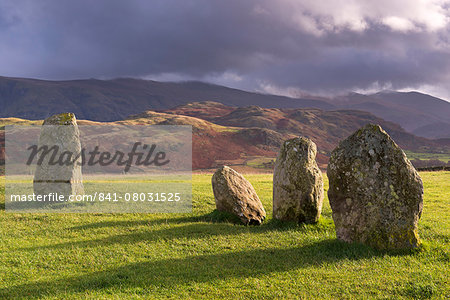 Megalithic standing stones forming part of Castlerigg Stone Circle, Lake District, Cumbria, England, United Kingdom, Europe Stock Photo - Rights-Managed, Image code: 841-08031525