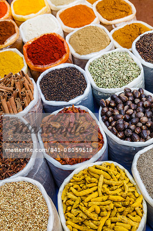 Spice shop at the Wednesday Flea Market in Anjuna, Goa, India, asia Stock Photo - Rights-Managed, Image code: 841-08059518