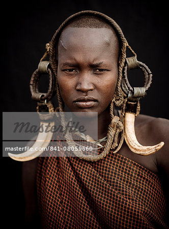 Portrait of Ntorol, Mursi Tribe, Chamolo Village, Omo Valley, Ethiopia, Africa Stock Photo - Rights-Managed, Image code: 841-08059660