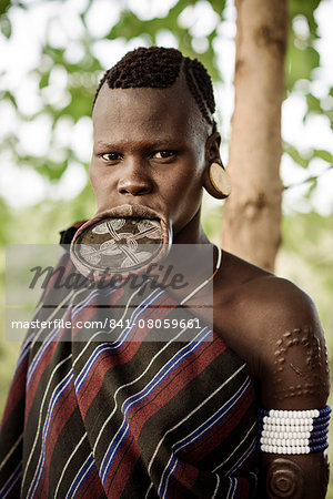 Portrait of Ana, Mursi Tribe, Marege Village, Omo Valley, Ethiopia, Africa Stock Photo - Rights-Managed, Image code: 841-08059661