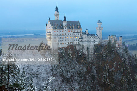 Neuschwanstein Castle in winter, Fussen, Bavaria, Germany, Europe Stock Photo - Rights-Managed, Image code: 841-08101694