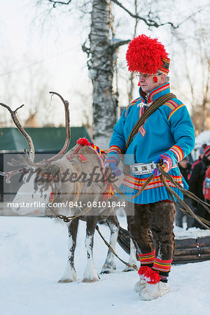 Ethnic Sami people at winter festival, Jokkmokk, Lapland, Arctic Circle, Sweden, Scandinavia, Europe Stock Photo - Rights-Managed, Image code: 841-08101844