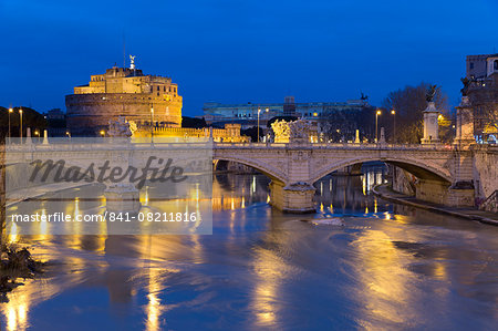 Castel Sant'Angelo and Ponte Vittorio Emanuelle II on the River Tiber at night, Rome, Lazio, Italy, Europe Stock Photo - Rights-Managed, Image code: 841-08211816
