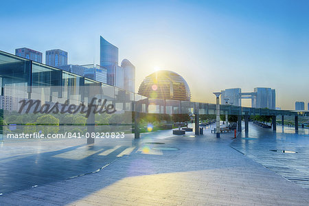 Brand new skyscrapers and modern architecture in an HDR capture in Jianggan, the up-and-coming business district of Hangzhou, Zhejiang, China, Asia Stock Photo - Rights-Managed, Image code: 841-08220823