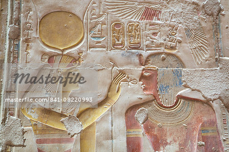 Bas-relief of Pharaoh Seti I on right with the Goddess Hathor on left, Temple of Seti I, Abydos, Egypt, North Africa, Africa Stock Photo - Rights-Managed, Image code: 841-08220993