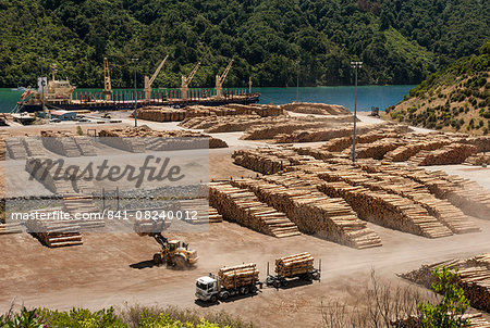 Timber port, Okiwa Bay, Marlborough Sounds, South Island, New Zealand, Pacific Stock Photo - Rights-Managed, Image code: 841-08240012