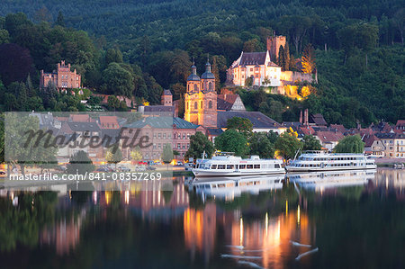 Mildenburg Castle and Parish Church of St. Jakobus, excursion boats on Main River, old town of Miltenberg, Franconia, Bavaria, Germany, Europe Stock Photo - Rights-Managed, Image code: 841-08357269