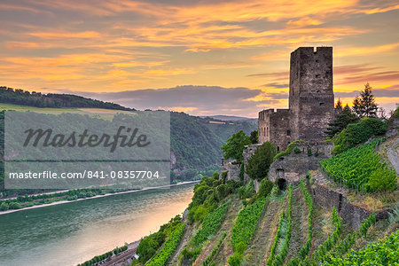 Burg Gutenfels, UNESCO World Heritage Site, and River Rhine, Rhineland Palatinate, Germany, Europe Stock Photo - Rights-Managed, Image code: 841-08357704