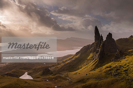 Dramatic morning light at the Old Man of Storr on the Isle of Skye, Inner Hebrides, Scotland, United Kingdom, Europe Stock Photo - Rights-Managed, Image code: 841-08438808