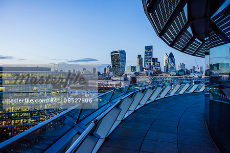 View from City Hall rooftop over City of London skyline, London, England, United Kingdom, Europe