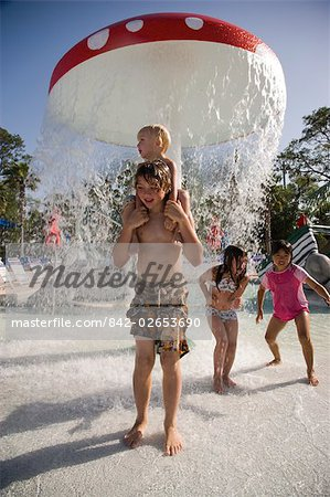 Children dancing in splashing water at water park Stock Photo - Rights-Managed, Image code: 842-02653690