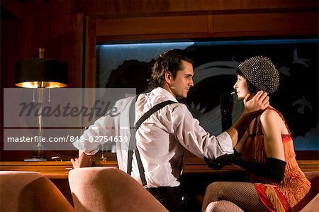 Portrait of 1920s socialite couple in 1920s bar Stock Photo - Rights-Managed, Image code: 842-02754639