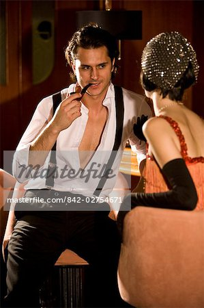Portrait of 1920s socialite couple in 1920s bar Stock Photo - Rights-Managed, Image code: 842-02754671