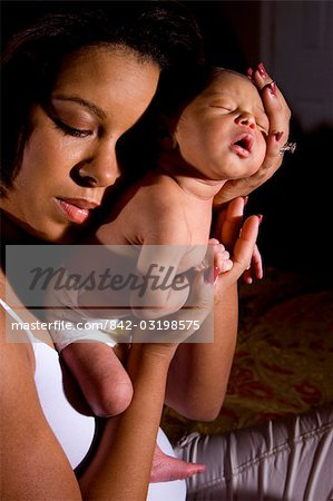 African American mother and newborn baby