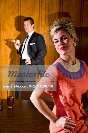 Vintage portrait of businessman and business woman in boardroom Stock Photo - Rights-Managed, Image code: 842-03198748