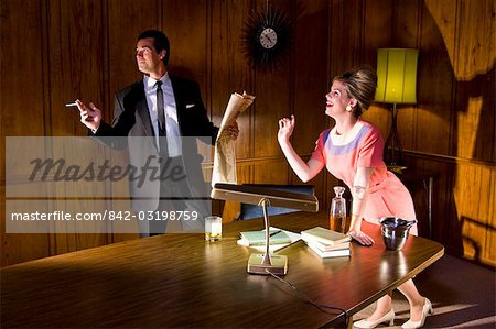 Vintage portrait of businessman and secretary in office Stock Photo - Rights-Managed, Image code: 842-03198759