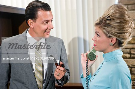Vintage portrait of young secretary with businessman Stock Photo - Rights-Managed, Image code: 842-03198789
