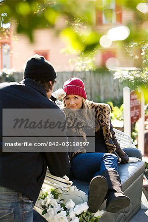 Young stylish couple sitting in horse drawn carriage Stock Photo - Rights-Managed, Image code: 842-03198897