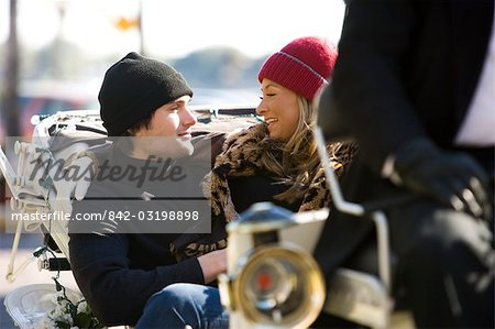 Young stylish couple sitting in horse drawn carriage Stock Photo - Rights-Managed, Image code: 842-03198898