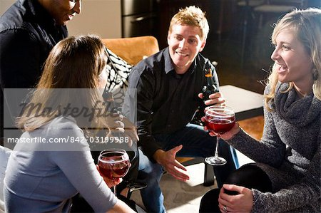 Multi-ethnic couples having drinks together in living room Stock Photo - Rights-Managed, Image code: 842-03199988