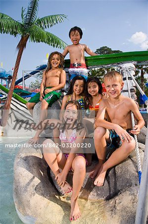 Multi-ethnic children at water park in summer Stock Photo - Rights-Managed, Image code: 842-03200220