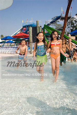 Girls at water park in summer Stock Photo - Rights-Managed, Image code: 842-03200226