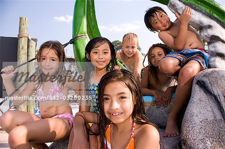 Multi-ethnic children at water park in summer Stock Photo - Rights-Managed, Image code: 842-03200235