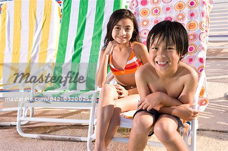 Multi-ethnic children sitting on pool deck Stock Photo - Rights-Managed, Image code: 842-03200257