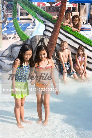 Multi-ethnic children at water park in summer Stock Photo - Rights-Managed, Image code: 842-03200302